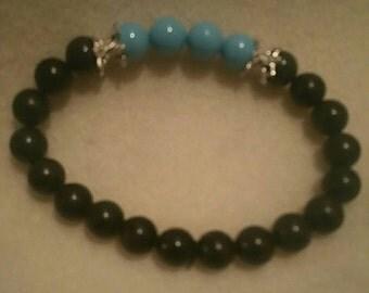 0154-Black jasper and Turquoise stretch Bracelet