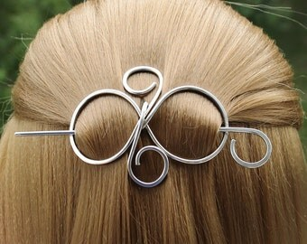 Silver Hair Barrette, Metal Hair Pin Hair Clip Wire Work, Hair Slide with Stick, Scarf Slide Shawl Pin, Hair Accessories, Gift for Sister