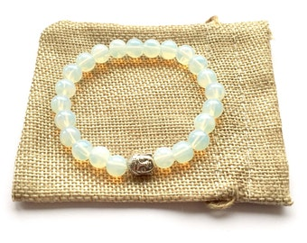 Opalite Buddha Bracelet 8mm Beads Stretch Fit