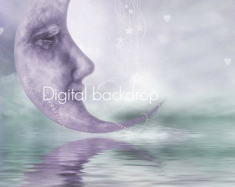 digital moon purple green