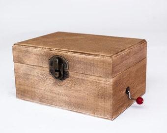 Aged wood music box