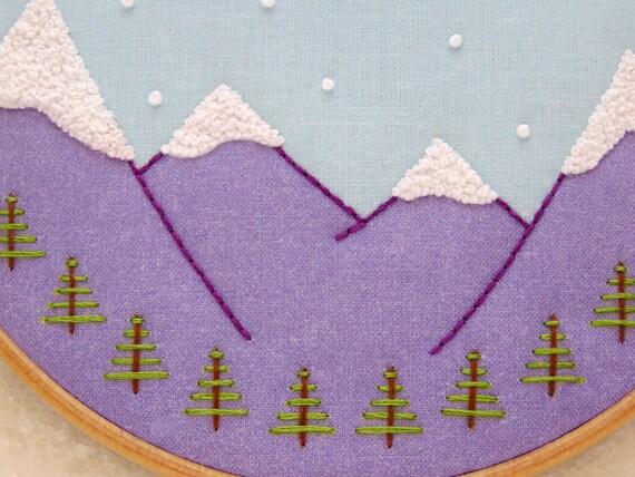 Embroidery fabric pattern modern hoop art winter craft