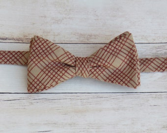Cream Red Plaid Bow Tie | Mens Vintage Bow Tie | Cotton Self Tie Bow Tie | Adjustable Strap Bow Tie | Gift for him | Boy Kid Bow Tie
