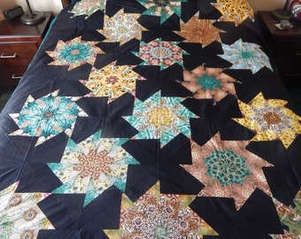 Queen size stack and wack Handmade Quilt  (86 x 102 ) Unfinished