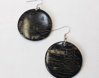 Buffalo horn earrings  - Beautiful black horn earring KAI-2686