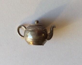 Tea pot charm sterling silver vintage antique #313