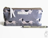 Sausage Dog Pencil Case, Dachshund Pencil Case, Wiener Dog, Small Makeup Bag, Cosmetics Bag, Purse Organiser,  Old Flour House