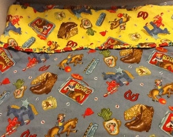 Vintage Children's Cowboy Themed Pillowcase  Project Material Child's Room Decor