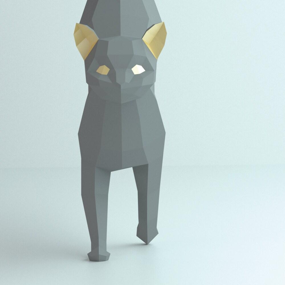 3d papercraft cat 3d pdf template papercraft animals low poly diy diy paper 3d art diy