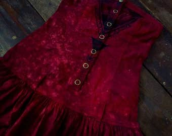 Unique hand dyed hand painted blood red gothic style mini dress size XS
