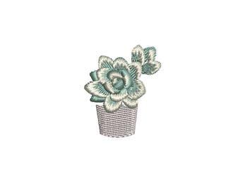 Mini Succulent Plant machine embroidery design. Potted Succulent mini embroidery. 3 sizes. Instant download