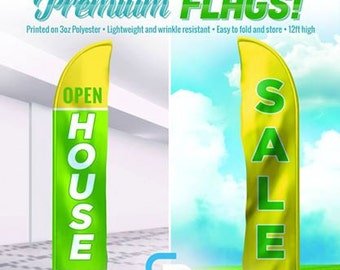 10ft Custom Feather Flag - 3oz Polyester - with outdoor or indoor hardware