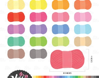 30 Colors Yarn Clipart - Instant Download