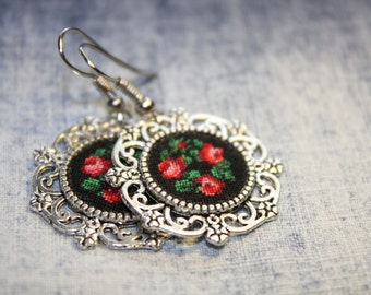 Hand Embroidered Earrings. Embroidered vintage bouquet Jewelry gift Gift for her Earrings with petit point embroidery Unique textile jewelry