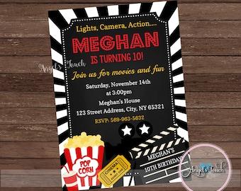 Movie Party Invitation, Movie Night Party Invitation, Movie Night Chalk Invitation, Movie Night Birthday Invitation Chalkboard, Digital File