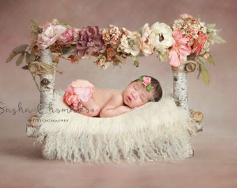 Digital backdrop , background  newborn  boy or girl toddler bed fur cream off white