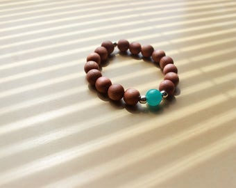 Handmade Teal Glass/Light Wood Beaded Stretch Bracelet Mens Bracelets Womens Bracelets Mens Jewelry Womens Jewelry
