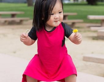 The Pink Rockstar High Low Dress | girls dresses, kids dress, toddler dress, edgy, urban style, fuschia, pink, baby girl dress