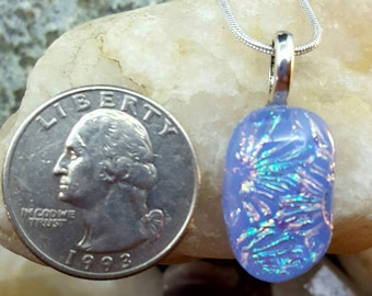 Little Whisperer - Dichroic Art Glass Pendant By hand, charged with positive Reiki energy.