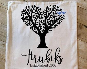 Personalized 18 x 18 Family Tree/Love Birds Throw Pillow