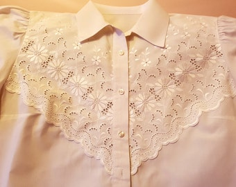 Vintage white lace shirt, vintage  shirt, lace 100% cotton shirt, emroidered shirt, Vintage WHITE LACE ROMANTIC blouse