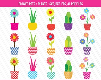 Flower pot SVG cutting files, DXF, Flowers clipart , Plants clipart , Flower pot svg , flowers svg, digital download -SVG, Eps, Ai, Pdf, Dxf