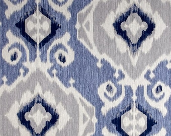 Blue Ikat Pillow Cover, Blue Pillow, Navy, Indigo, Beige, Grey, Ikat Pillow, Modern Ikat, Geometric, Throw Pillow, Modern, SummerHome