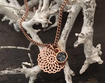 Necklace rose gold Stainless Steel pendant with Swarovski and mandala