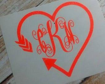 Arrow Heart Decal/ Arrow Initial Monogram /Arrow  Monogram/Decal/ Vinyl Decal/ Initial Monogram/ Tribal Decal/Vinyl Monogram