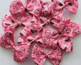 Handmade Bow Hair Clips- Cupcakes