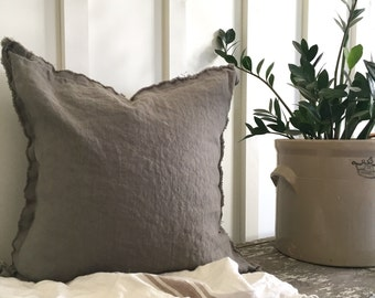 Frayed Linen Pillow Cover