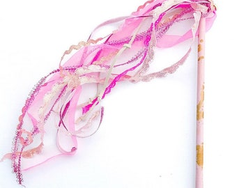 Little Girl's Pastel Pink & Gold Princess Wands | Play Wands | Ribbon Wands | Birthday Party Favor Wands | Toddler Girls | Valentines Day