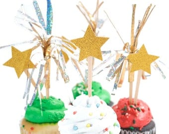 12 Star Cupcake Toppers, Glitter Party, New Years Eve,Silver Star,Space Party,Twinkle twinkle little star Baby Shower,Gold Star Party