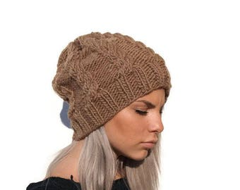 Camel brown knit hat, cable hat, woman hat, winter accessory, knit alpaca hat, winter hat, knit chunky hat