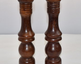 Vintage Tall Wooden Salt and Pepper shakers