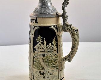 Vintage German Beer Stein  / Ceramic mug/ Barware/ W. Germany Beer Stein