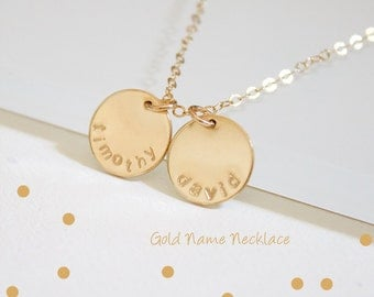Custom Name Disc Necklace//Gold Coin Necklace//Circle Personalized Necklace//Gold Engraved Disc//Mother's Day Gift//Silver, Rose Gold