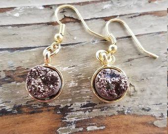 Chocolate Geode Druzy Earrings
