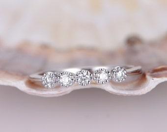 14K White Gold Half Eternity Natural Diamond Wedding Band,Twinkling Diamond Matching Band,Anniversary Ring,Stacking Matching Band