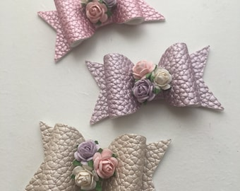 Spring Bouquet Hairbow - pearlised mulberry flower bow - spring dinky bow