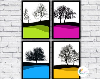 Winter Tree Silhouettes - A4 or A3 - Set of 4 - Bright Kitchen Prints, Colourful Wall Art, Colourful Lounge Prints
