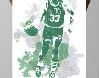 Larry Bird, Boston Celtics Poster, Sports poster, Fan art