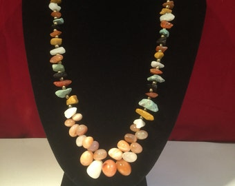 Vintage Natural Earth & Fire Coloured Polished Stone Necklace