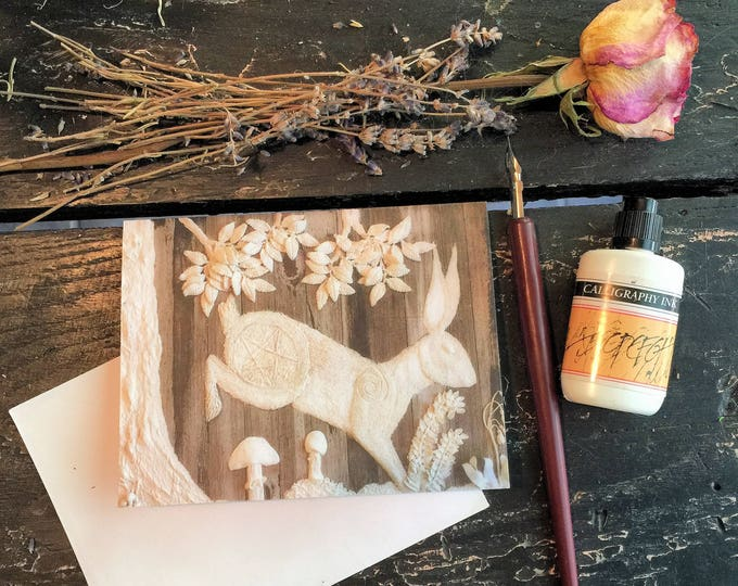 Featured listing image: Spring Hare Single 4x6 Note Card,Blank 4x6 Note Card,Original Art 4x6 Note Card,Woodland Rabbit Card, Pagan Greeting Card,Any Occasion Card