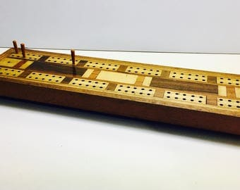"""Beautiful Antique Inlay Cribbage Board with 3 Original Wooden Pegs, Lovely Craftsmanship - Large Board 14 1/2"""" L"""