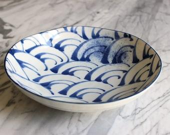 Bowl ceramic Japanese ground wave very nice gift