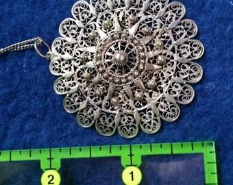 "Wire Filigree Pendant with 16"" chain."