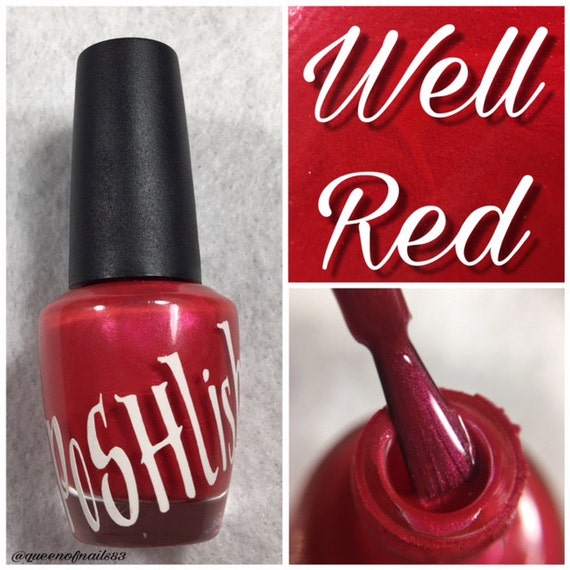 "Unique ""Well Red"" Pearl Red Nail Polish Full Size 15ml"