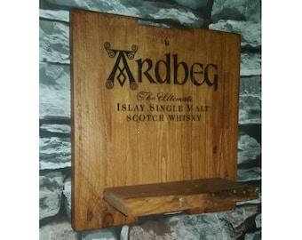 Rustic, Reclaimed Wood Wall Unit, Ardbeg Single Malt with shelf ready to hang