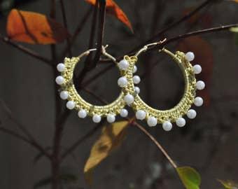 Crochet earrings with golden thread,hoop earings with pearls,crochet earrings with while pearls,textile hoop earrings,gold thread earrings